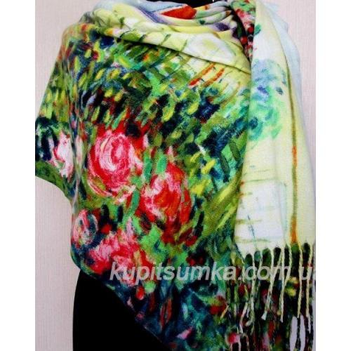 Разноцветный женский палантин из пашмины