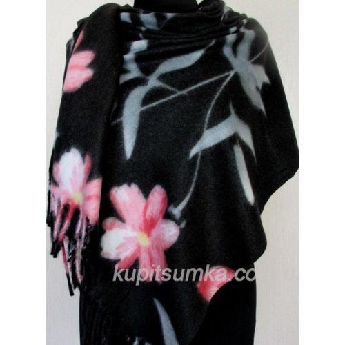 Чёрный кашемировый палантин с цветком