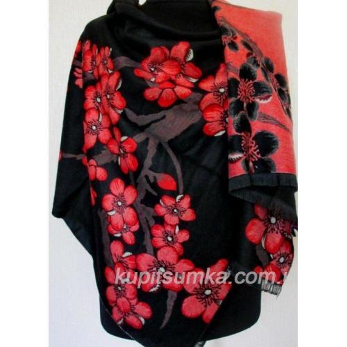 Кашемировый палантин с рисунком ветки красной сакуры