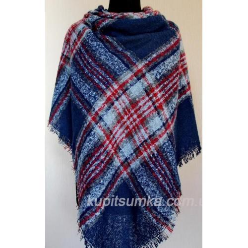 Стильный тёплый шерстяной платок для женщин, крупная клетка 32Т2