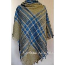 Стильный тёплый шерстяной платок для женщин, крупная клетка 32Т3