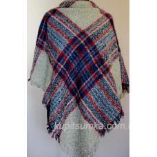 Стильный тёплый шерстяной платок для женщин, крупная клетка 32Т5