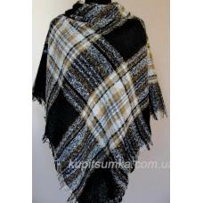 Стильный тёплый шерстяной платок для женщин, крупная клетка 32Т6