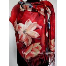 Тёплый двухсторонний палантин из пашмины в крупный цветок лилия Красный