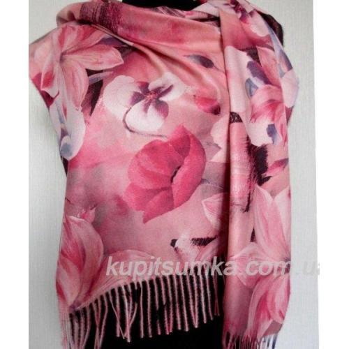 Тёплый двухсторонний палантин из пашмины в крупный цветок лилия Розовый