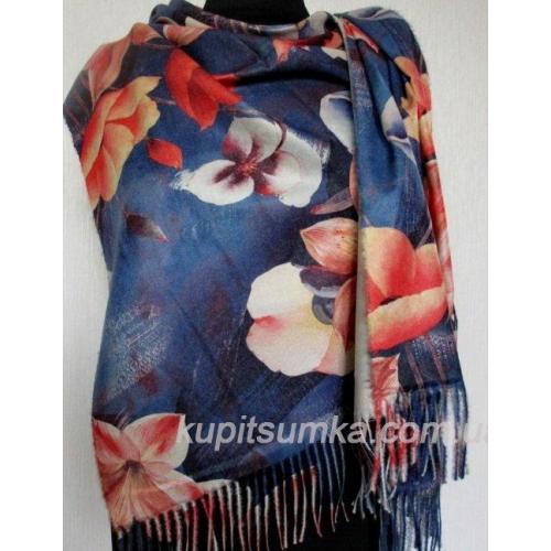 Тёплый двухсторонний палантин из пашмины в крупный цветок лилия Синий