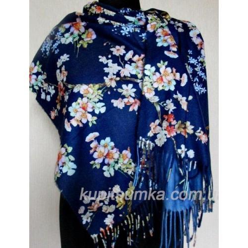 Тёплый двухсторонний палантин из пашмины с цветочными мотивами Синий