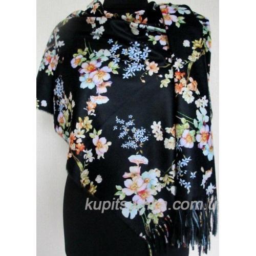Тёплый двухсторонний палантин из пашмины с цветочными мотивами Чёрный