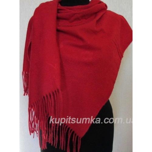 Тёплый палантин для женщин с набивным рисунком в красном цвете