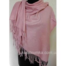 Тёплый палантин для женщин с набивным рисунком в розовом цвете