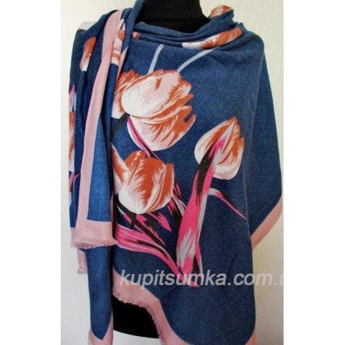 Тёплый палантин для женщин с рисунком тюльпанов 26Т2