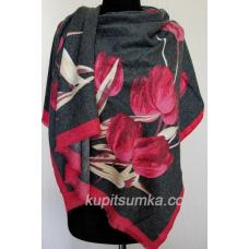 Тёплый палантин для женщин с рисунком тюльпанов 26Т4