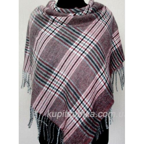 Женский клетчатый платок из мягкого кашемира Марсала