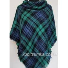 Женский платок из шерсти зелёный в клетку