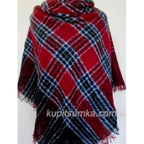 Женский платок из шерсти красный в клетку 42Т6
