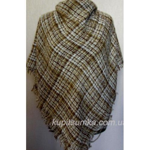 Женский шерстяной платок в клетку Бежевый