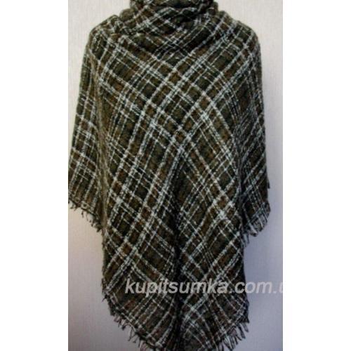 Женский шерстяной платок в клетку Хаки