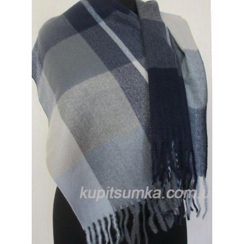 Кашемировый тёплый шарф в шотландку