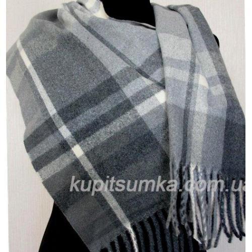 Классический кашемировый шарф в шотландку Серый