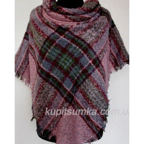Женский теплый платок из пашмины в клетку розовый 64Т2