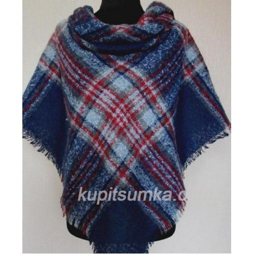 Теплый женский платок из пашмины синий 64Т1