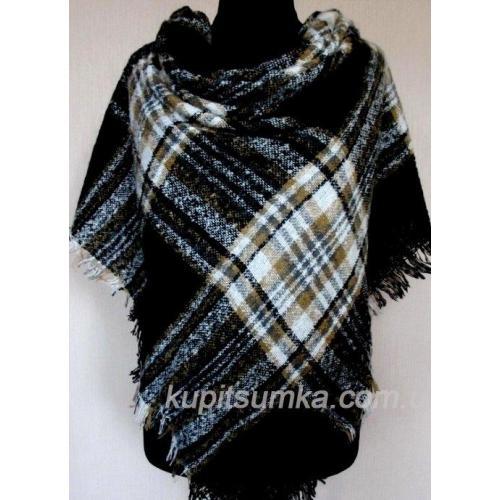 Женский теплый платок из пашмины KT211 Черный