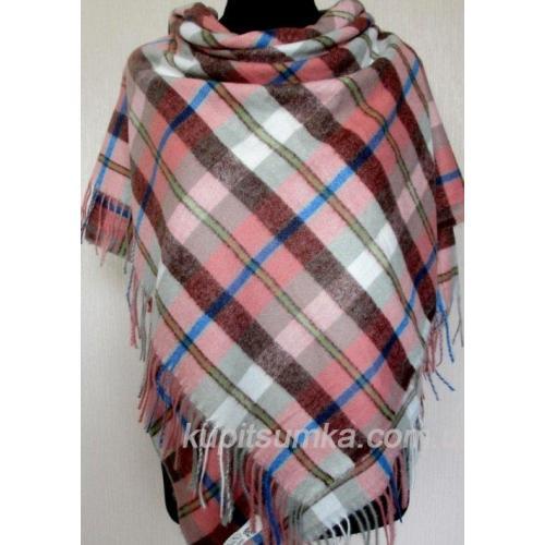 Клетчатый теплый платок из пашмины розовый 50Т9