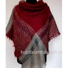 Теплый кашемировый платок из мягкого букле Бордовый