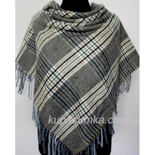 Оливковый женский платок из мягкого кашемира в шотландку