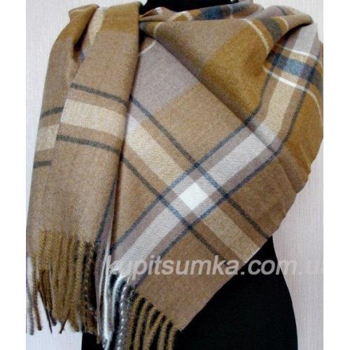 Тёплый кашемировый шарф в клетку - шотландку