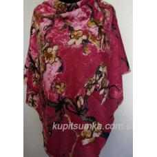 Бордовый тёплый шерстяной платок с цветочным рисунком