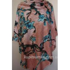 Тёплый шерстяной платок пудрового цвета с цветочным рисунком