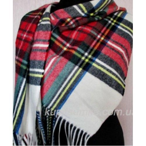 Яркий женский кашемировый шарф в шотландку