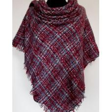 Теплый кашемировый платок KT181 Бордовый