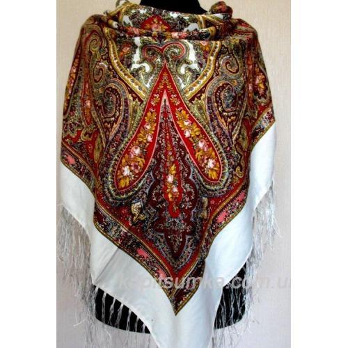 Белый украинский платок с цветочным узором