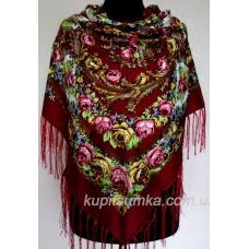 Большая украинская шаль с ярким красочным рисунком на мягкой натуральной ткани Бордовая