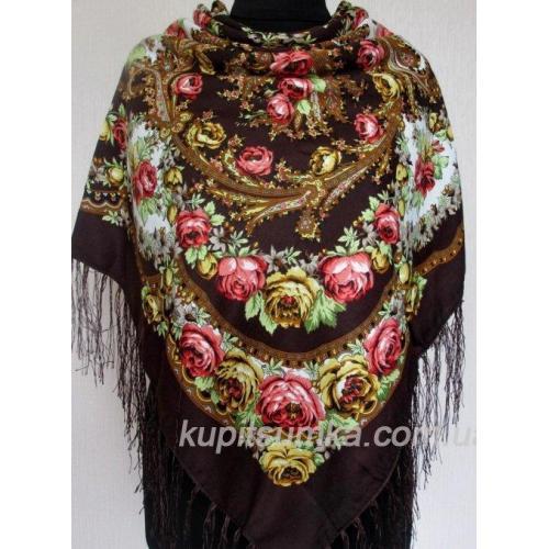 Украинский шерстяной платок 158T Коричневый