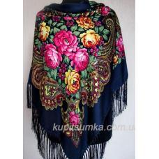 Великолепный шерстяной украинский платок Синий