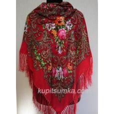 Женский шерстяной платок в национальном стиле с рисунком цветов Красный