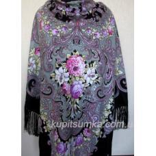 Женский шерстяной платок Забава с рисунком цветов Черный