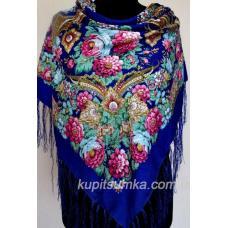 Красивая цветочная шаль в украинском стиле Васильковая