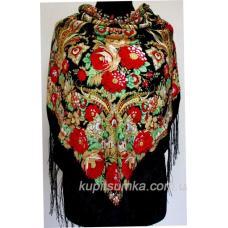 Красивая цветочная шаль в украинском стиле Черная
