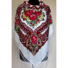 Очаровательный белый украинский платок Роксолана