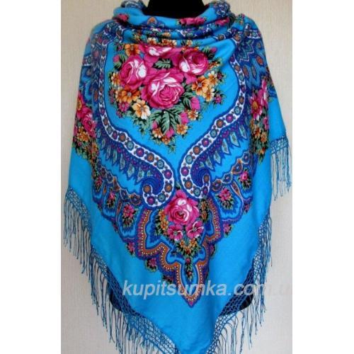 Очаровательный голубой украинский платок Роксолана