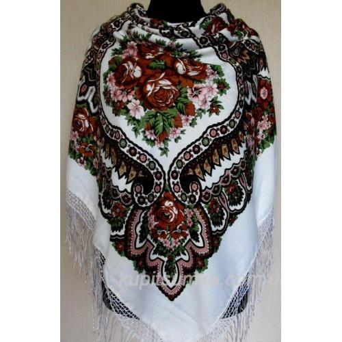 Очаровательный украинский платок Роксолана Белый