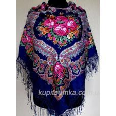 Очаровательный украинский платок Роксолана Васильковый
