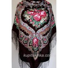 Очаровательный украинский платок Роксолана Коричневый