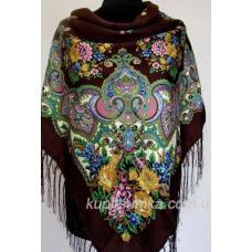 Очаровательный украинский платок с цветочным узором Коричневый