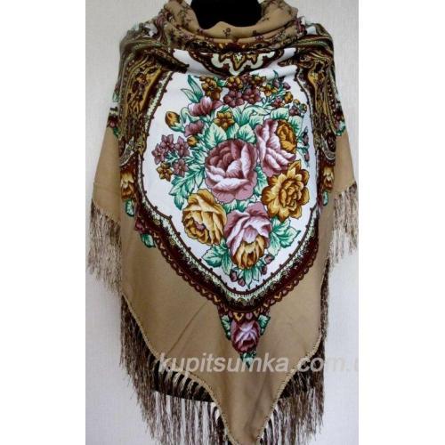 Роскошный бежевый украинский платок Сударушка