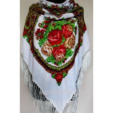 Роскошный белый украинский платок Сударушка Белый